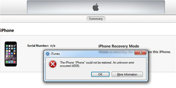 What is iTunes Error 4005