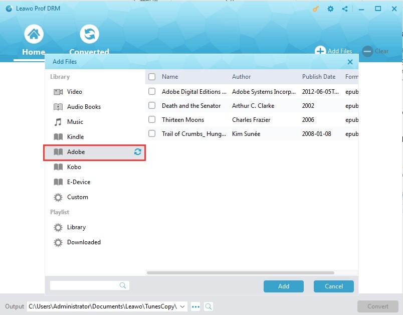 Add Adobe eBooks