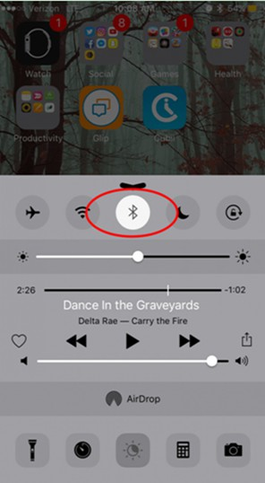 click on the Bluetooth icon