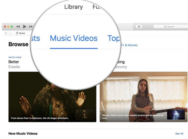 hit Music Videos option