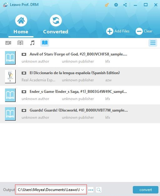 Set an output folder