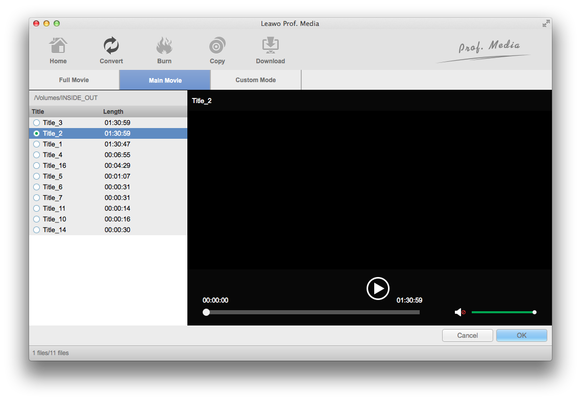 Select video in the Blu-ray disc to record