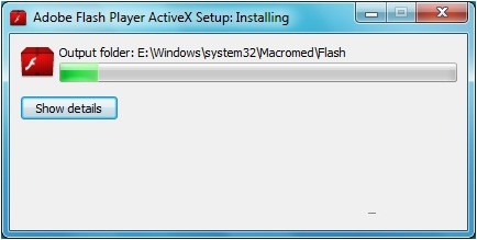 adobe flash player activex failed to install