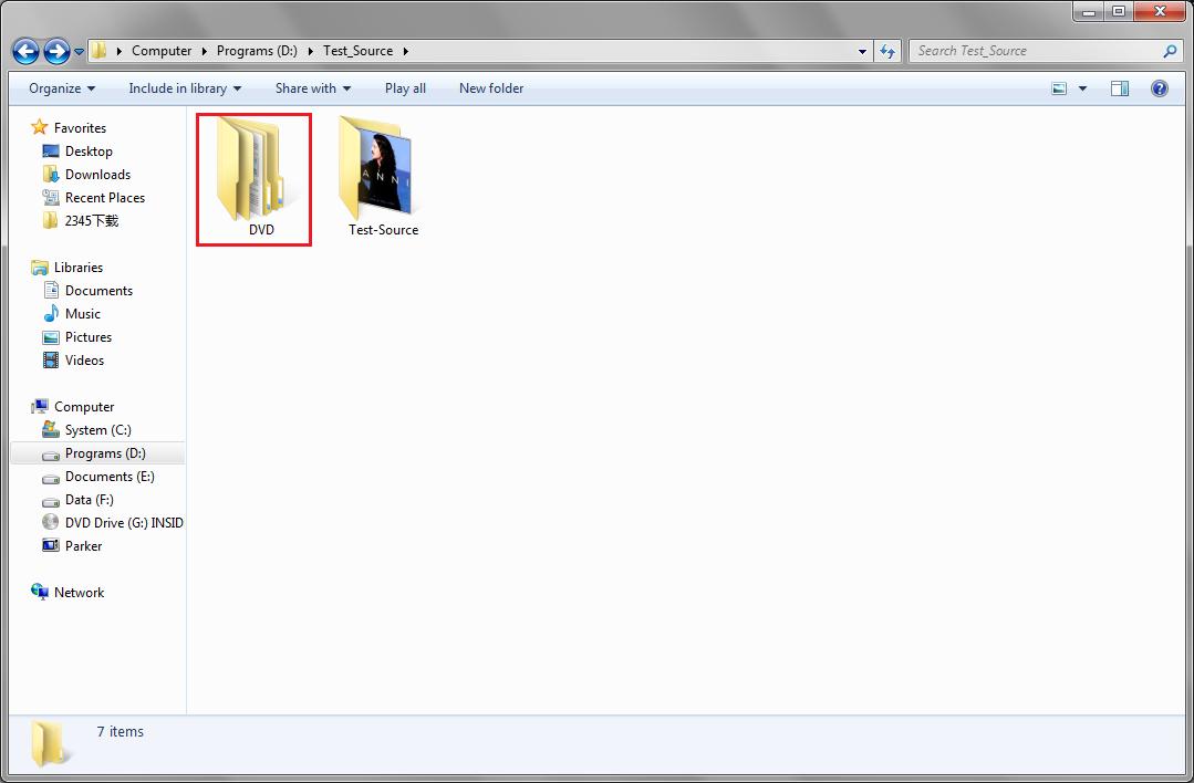 Find DVD folder