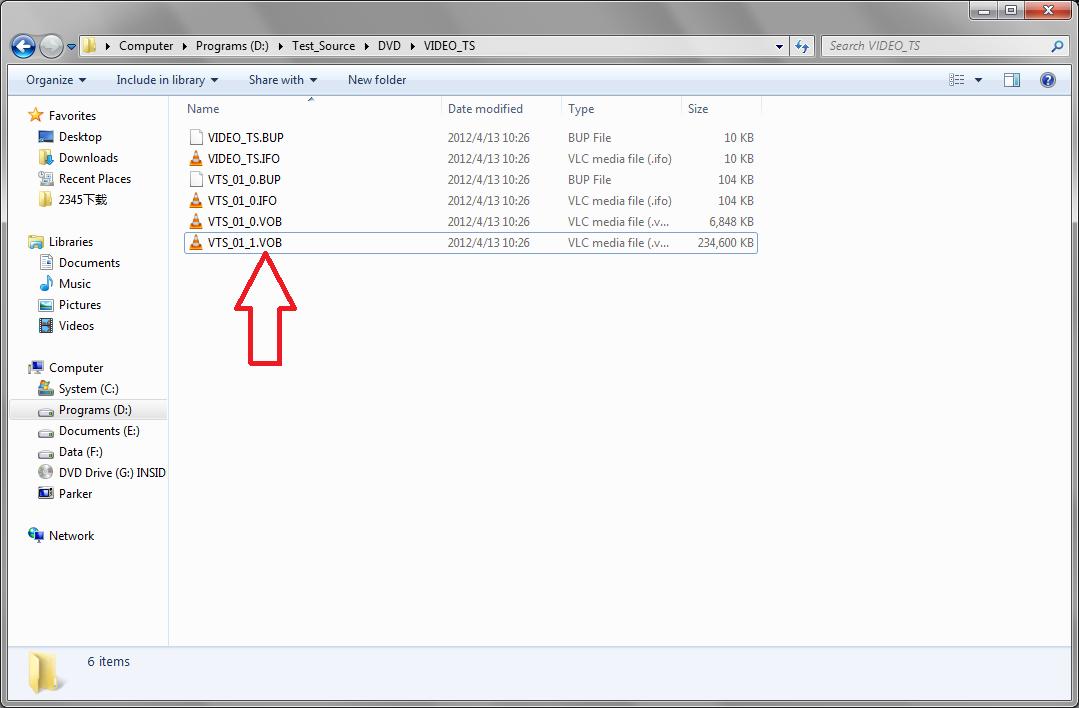 Find VOB files