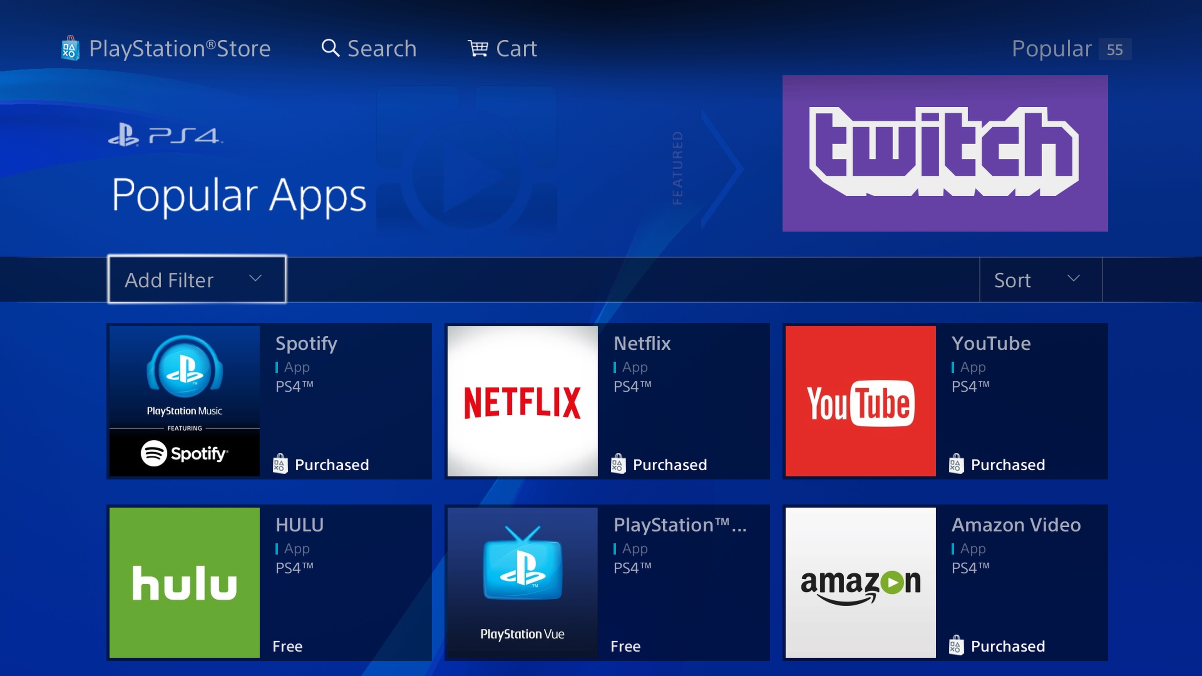 PS4 video streaming services