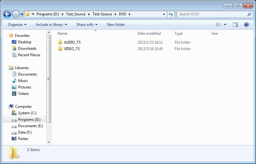 Open DVD folder