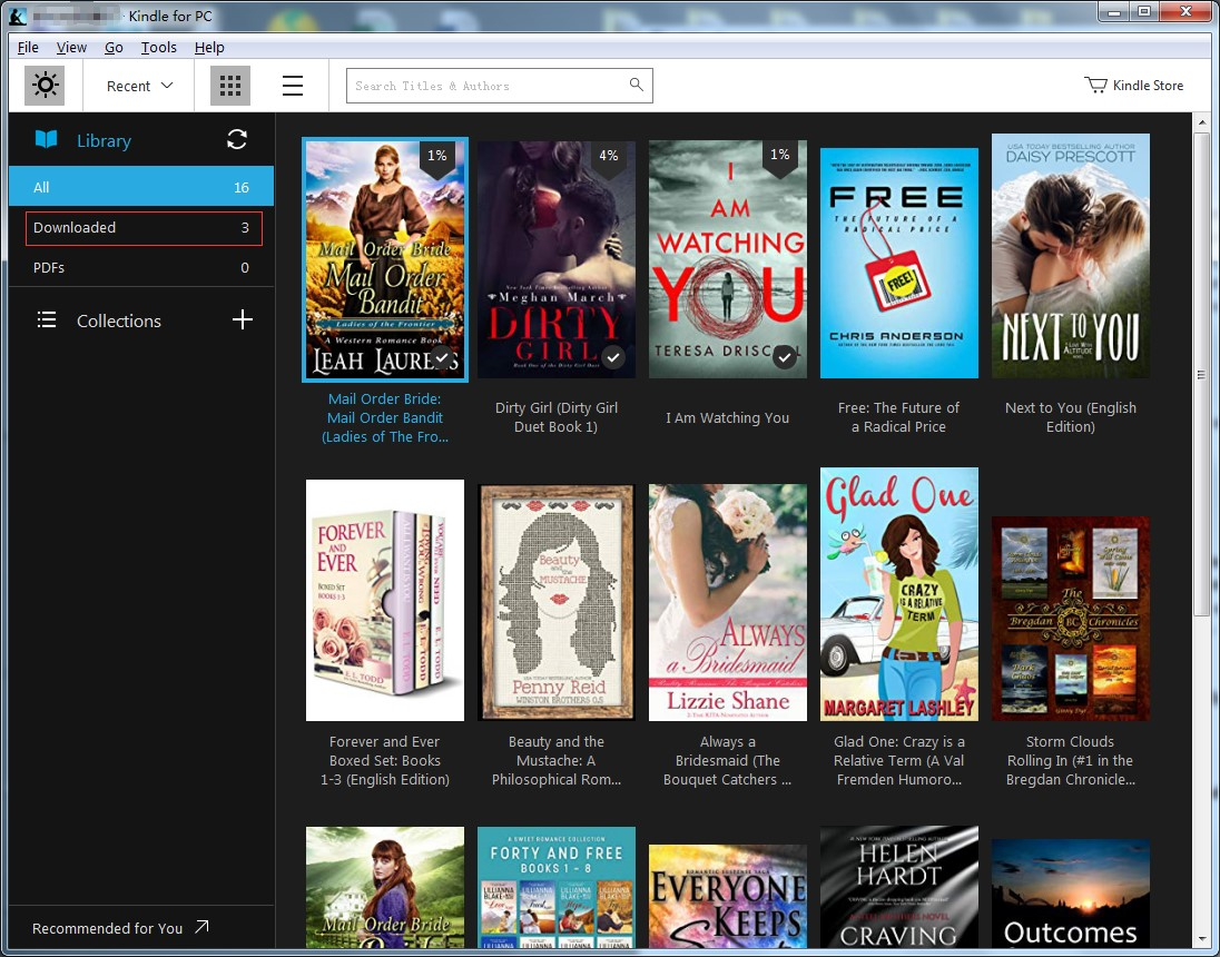 Log in your  Kindle desktop app