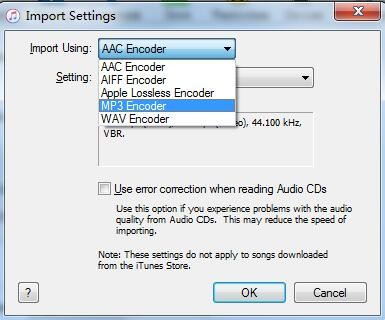 Launch iTunes to change Importing settings