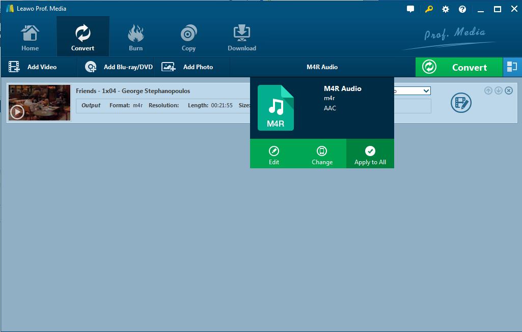 Set M4R Audio as output format