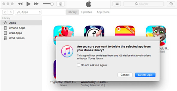 How to remove apps from itunes on mac