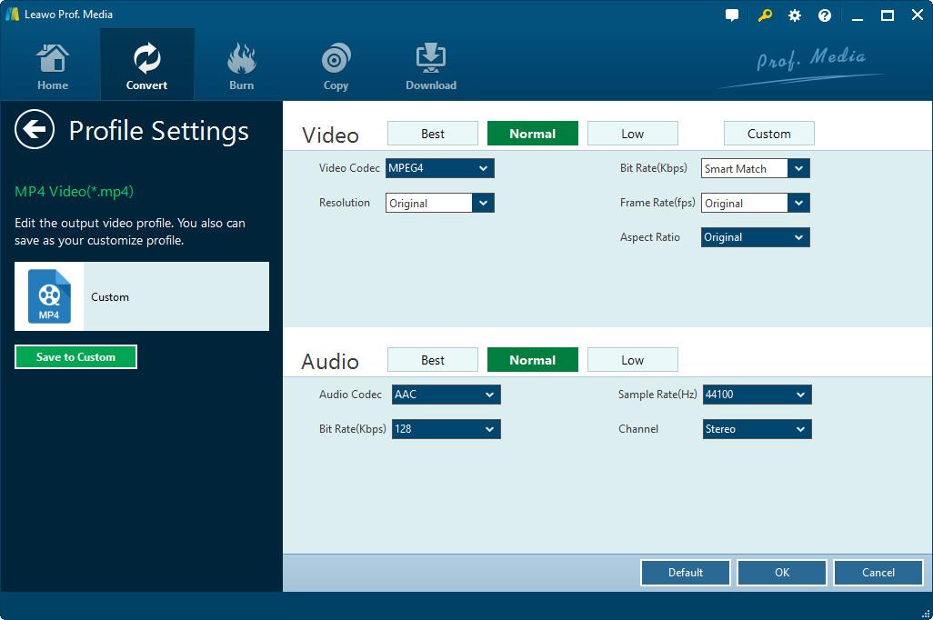 Leawo-Prof.-Media-Start-ripping-Customize-settings-of-output-file-3
