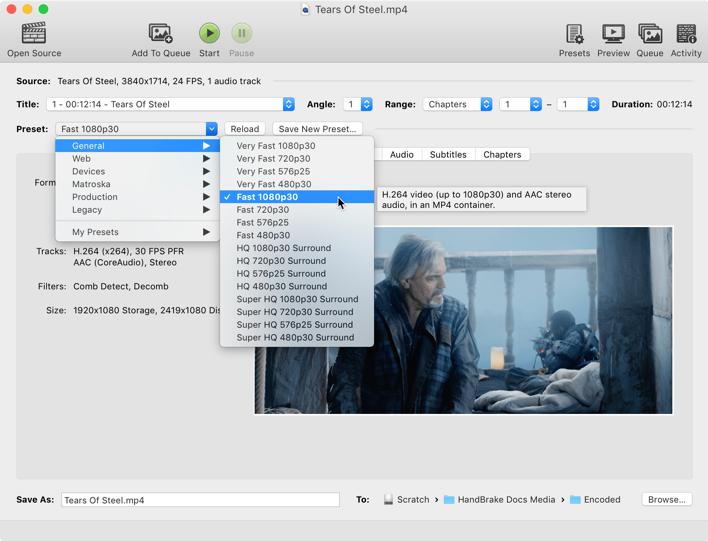HandBrake-select-preset