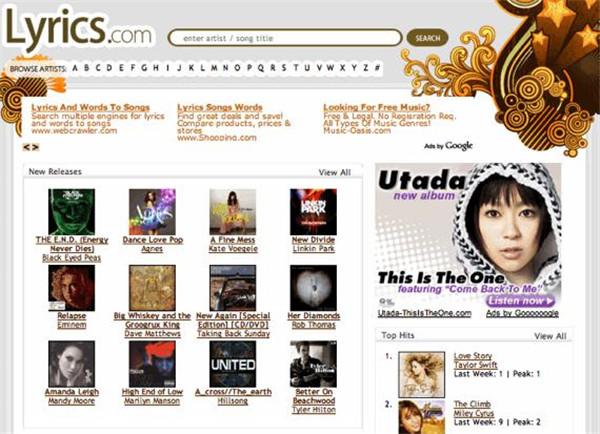 Lyrics.com-website-1