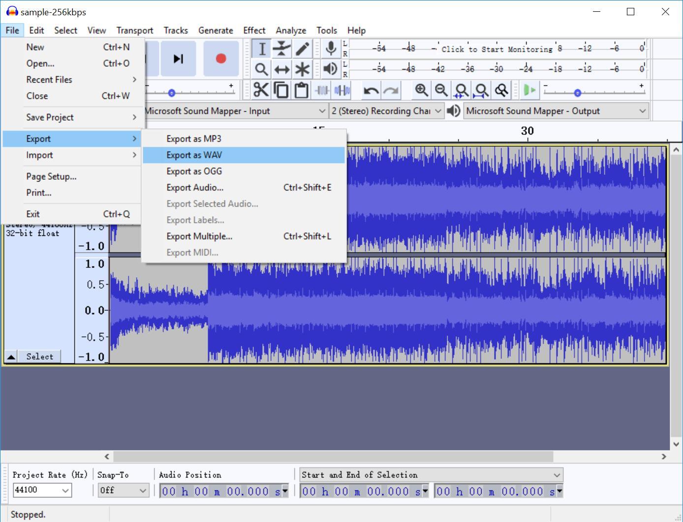 audacity-convert-mp2-to-wav-13