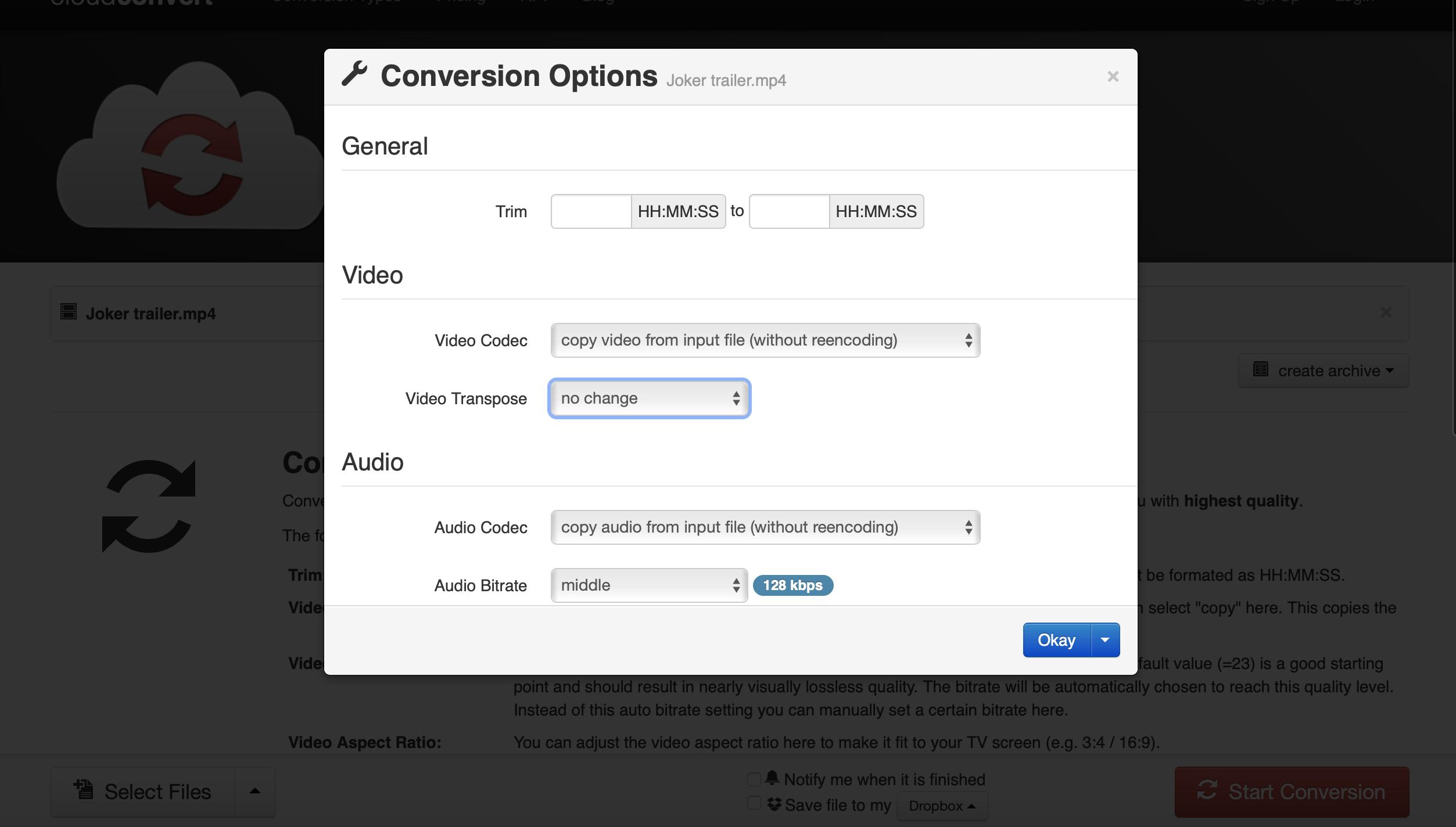 Cloudconvert-video-conversion-settings