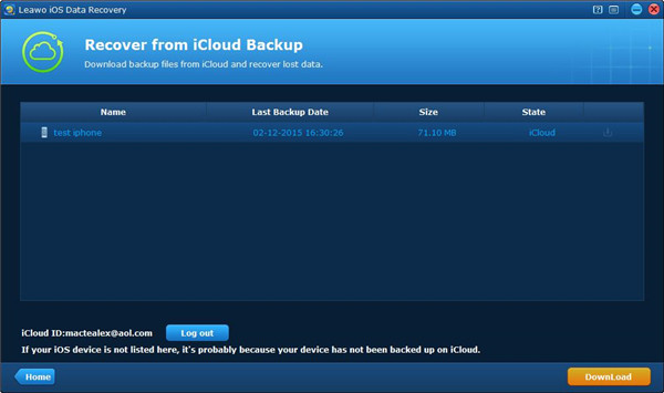 Download backup files from iCloud