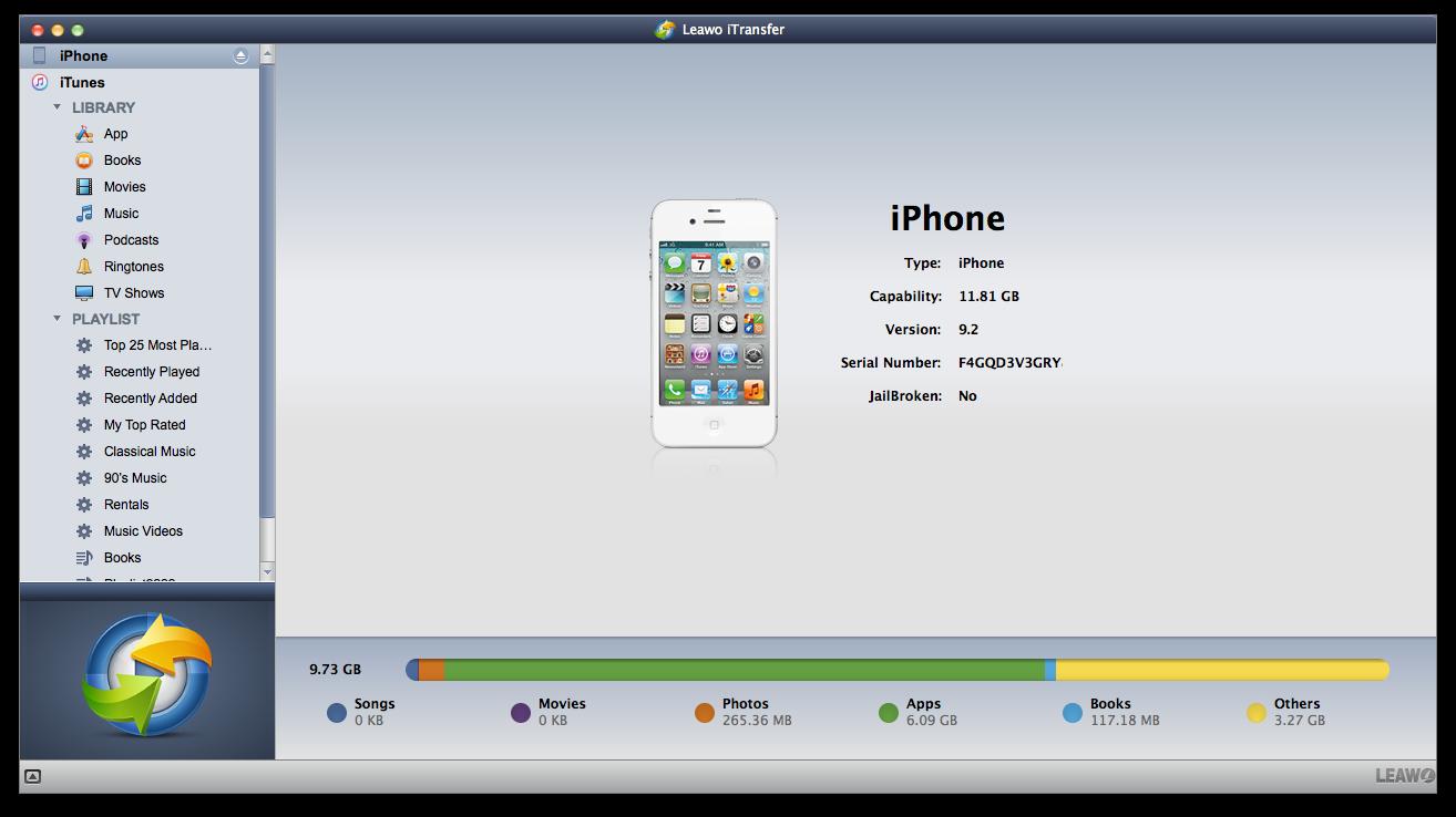 leawo itransfer main interface