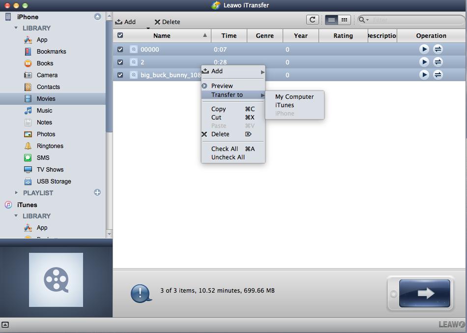 leawo itransfer selecting files for transfer