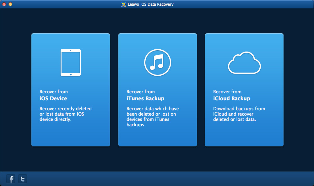 Leawo iOS Data Recovery main interface