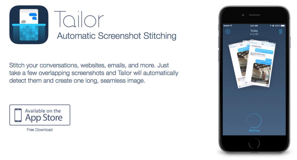 Tailor Screenshot Stitching