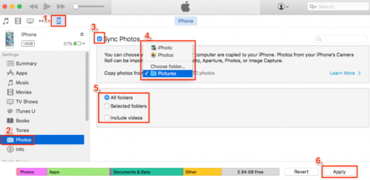 use iTunes to back up photos