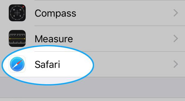 choose Safari tab in Settings app