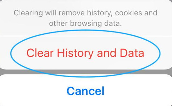 confirm to clear history and data