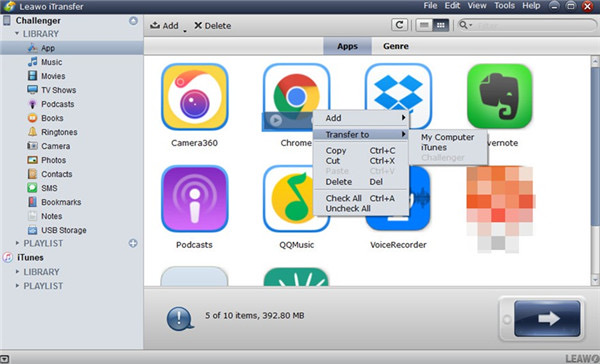 Leawo-iTransfer-choose-apps-for-backup