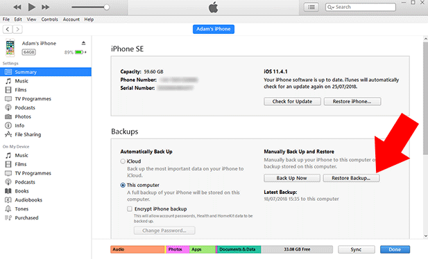 recover calendar with itunes
