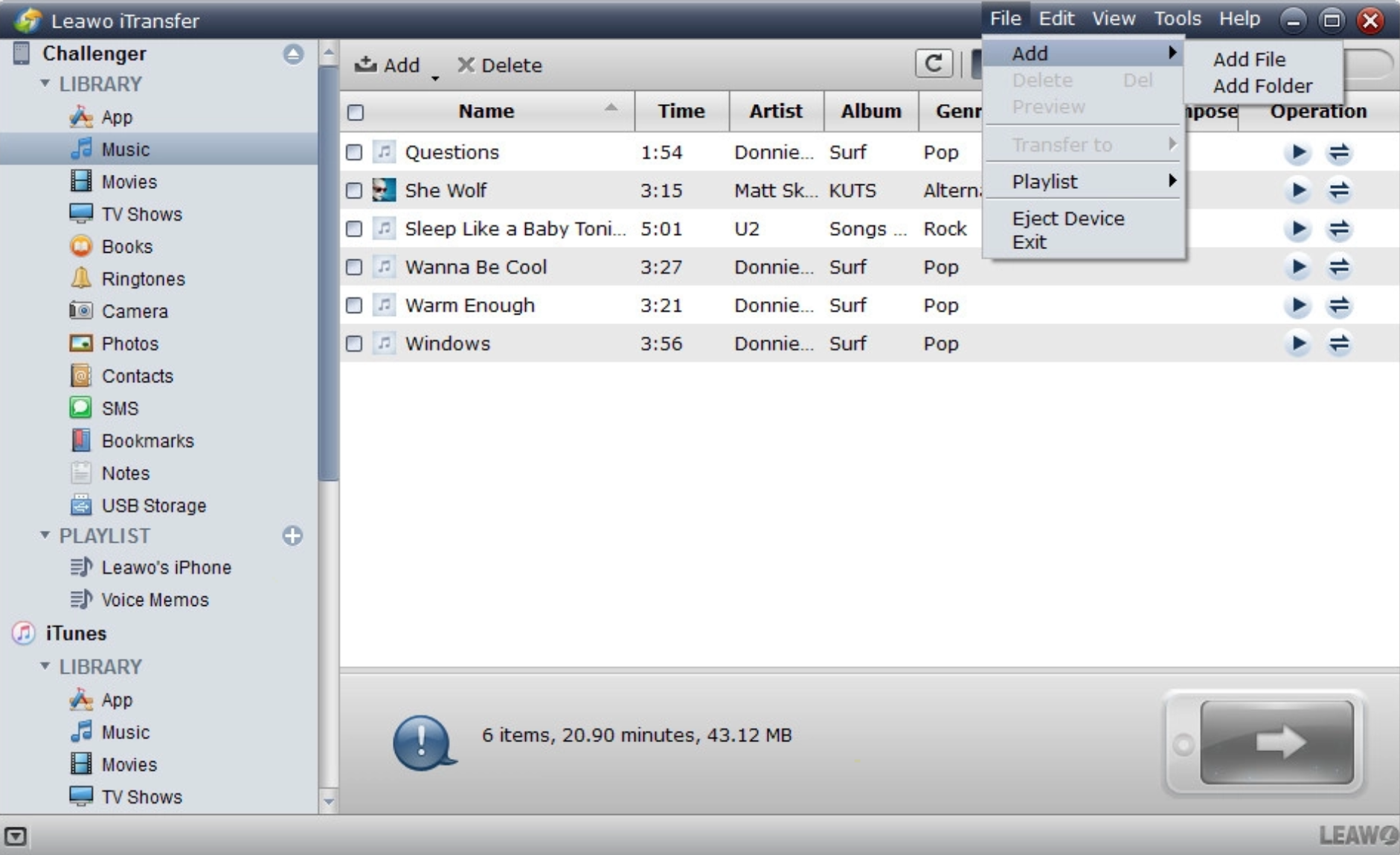 transfer-MP3-to-iPhone-with-Leawo-iTunes 02