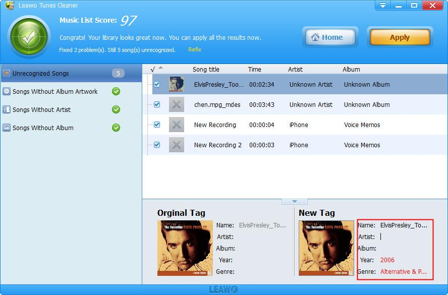 How to Edit Music Tag on PC with Leawo Tunes Cleaner-01