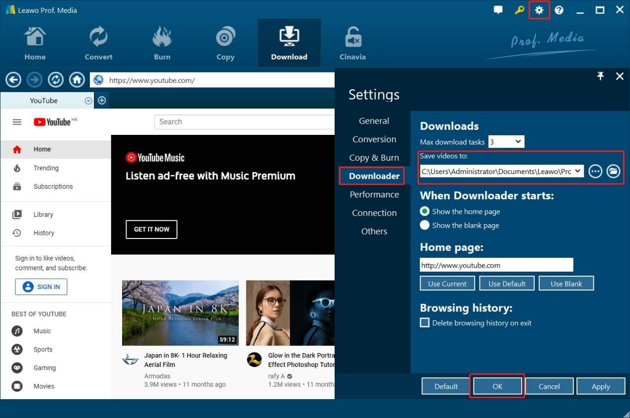 leawo-video-downloader-settings