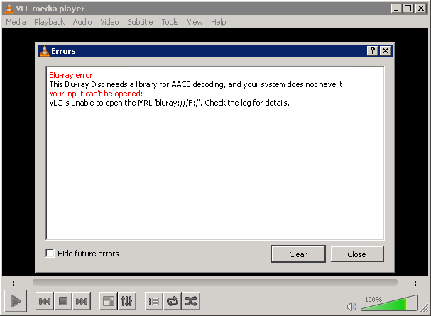 Blu ray disc needs a library for AACS decoding