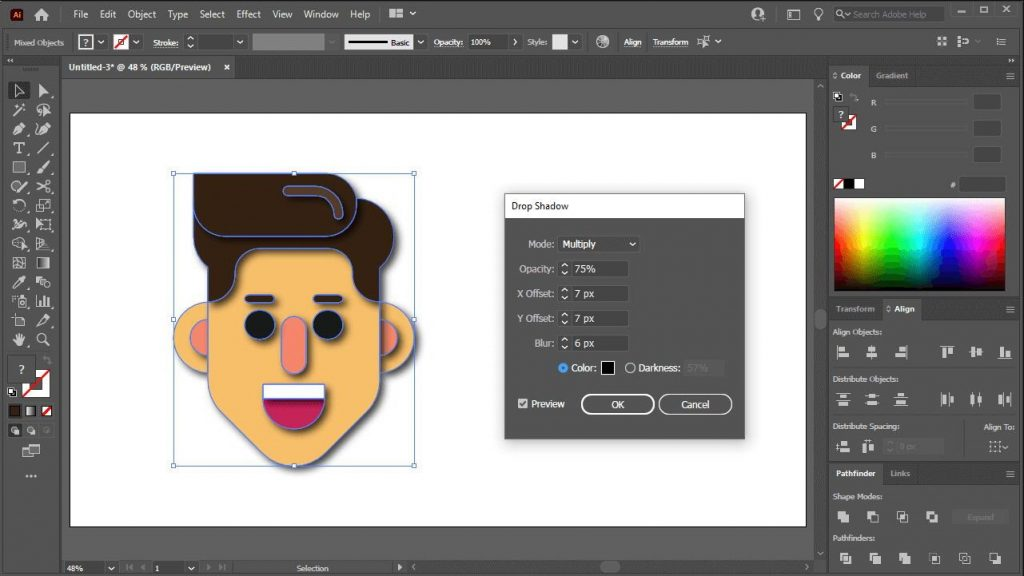Add-drop-shadow-to-image-in-Illustrator-5