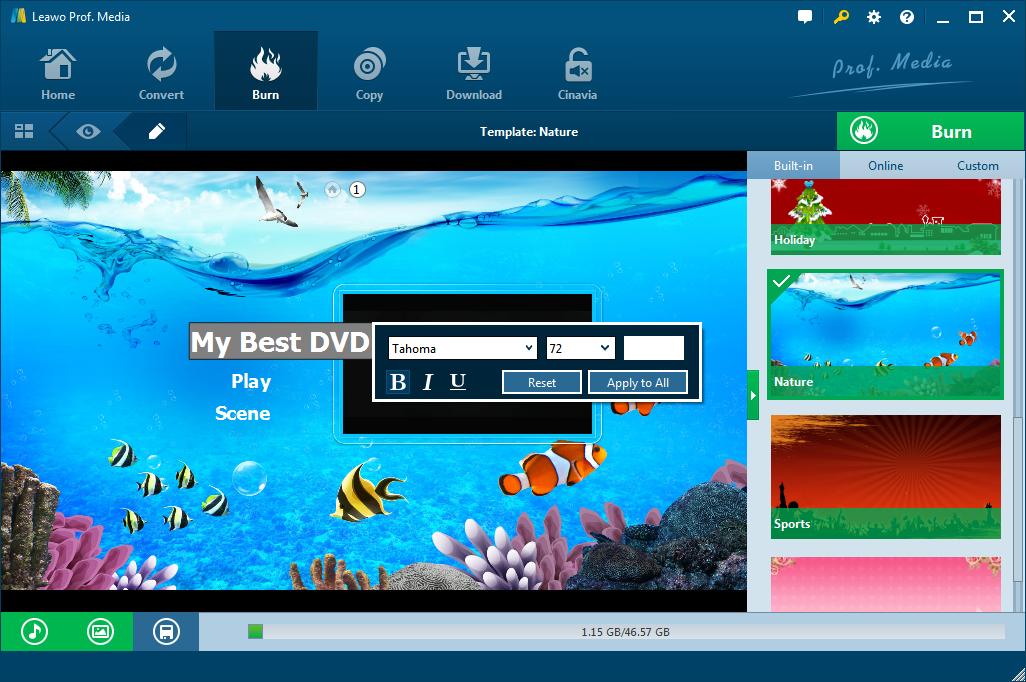 How to Design Disc Menu with Leawo Blu-ray Creator