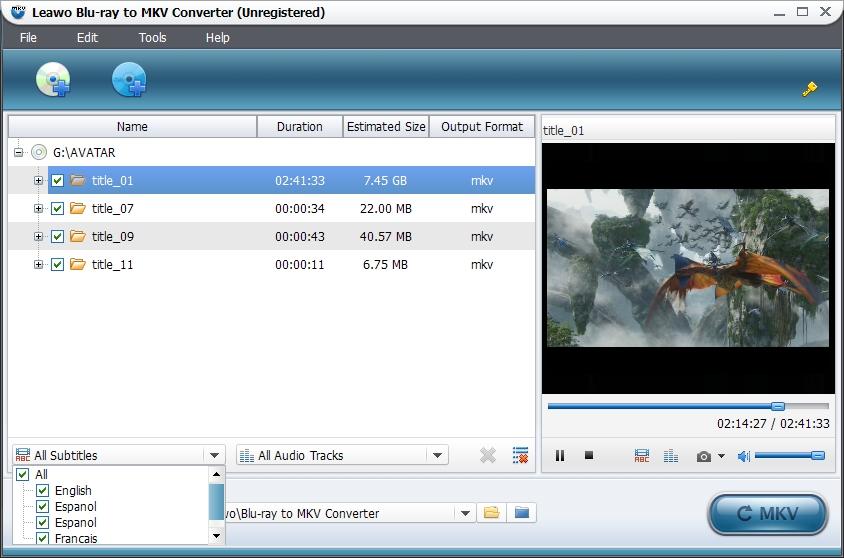 Choose subtitles and audio tracks