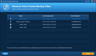 iTunes backups listed