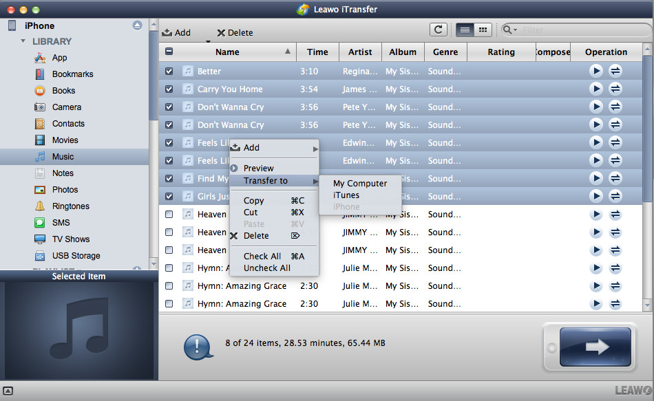 transfer music files to Mac