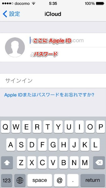 input your apple ID and password