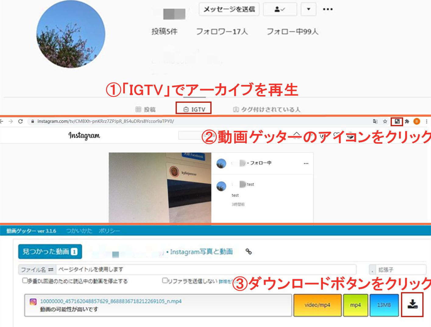 動画ゲッターでインスタライブを保存する方法