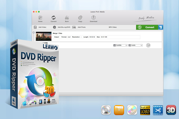 Leawo Mac DVD Ripper rips DVD to all popular video formats for Mac users